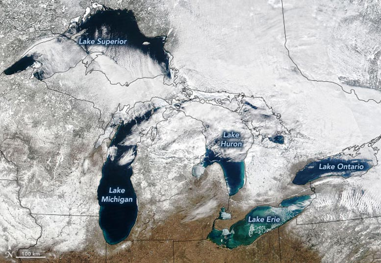Great Lakes Ice, March 2021 Annotated