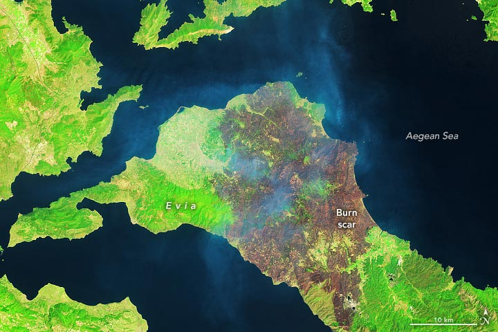 Greece Fire False Color August 2021 Annotated