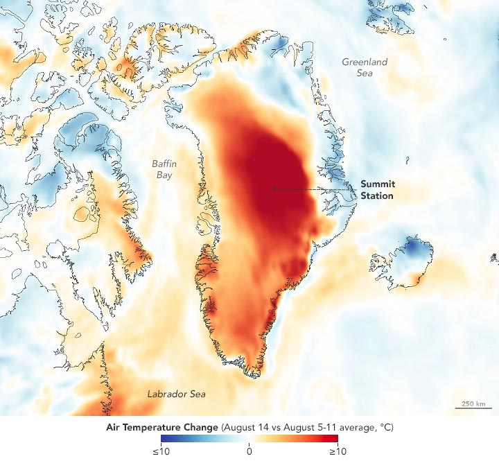 Greenland Air Temperature Change August 2021 Annotated