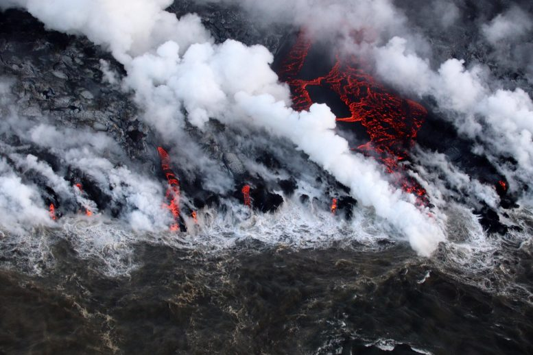 Hawaii Kilauea Volcano Lava Flow Near Isaac Hale Beach Park