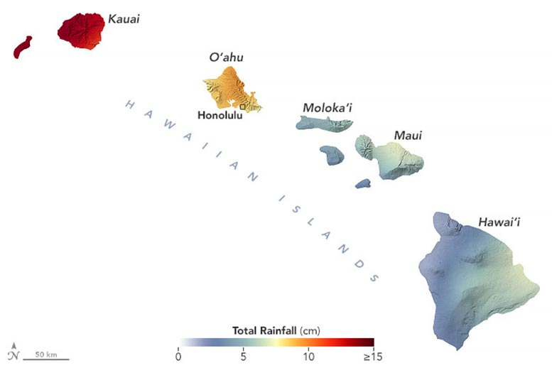 Hawaii Rainfall March 2021 Annotated