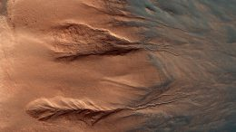 HiRISE Views Contrasting Colors of Crater Dunes and Gullies on Mars
