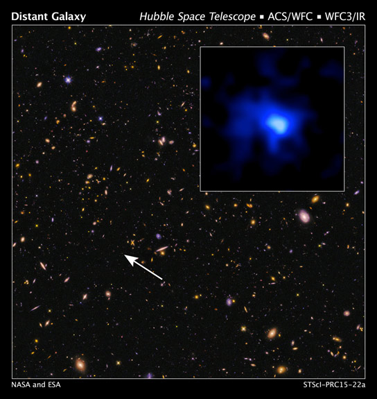 Hubble Discovers Distant Luminous Galaxy