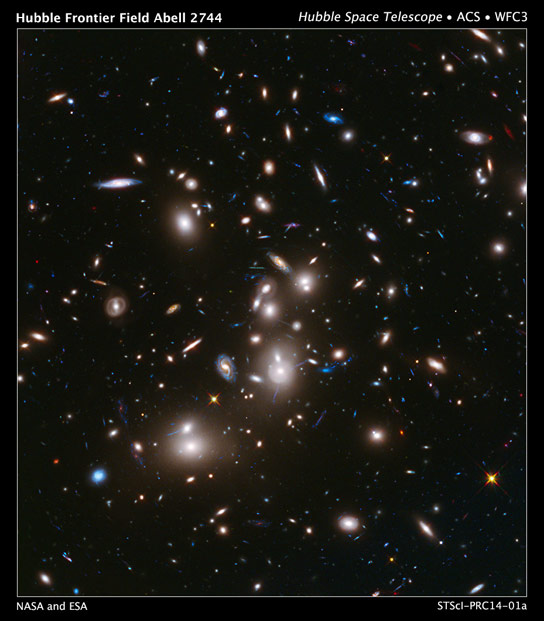 Hubble Image of Galaxy Cluster Abell 2744