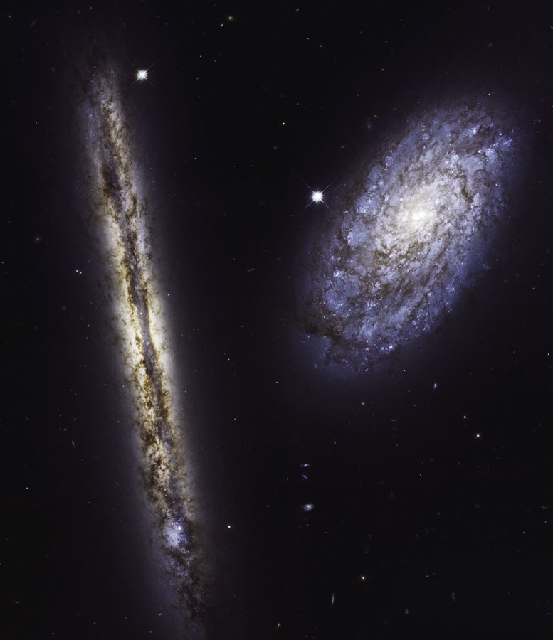 Hubble Image of Spiral Galaxies NGC 4302 and NGC 4298