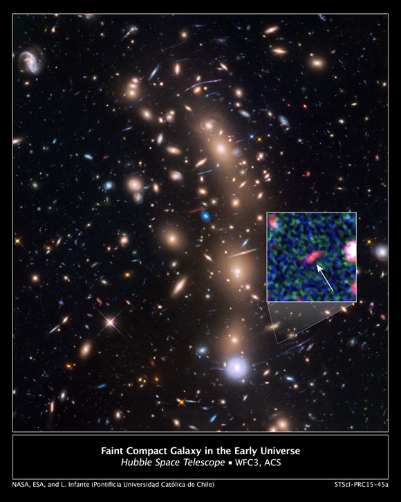 Hubble Reveals Faint Compact Galaxy in the Early Universe