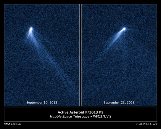 Hubble Sees Asteroid with Six Comet Like Tails