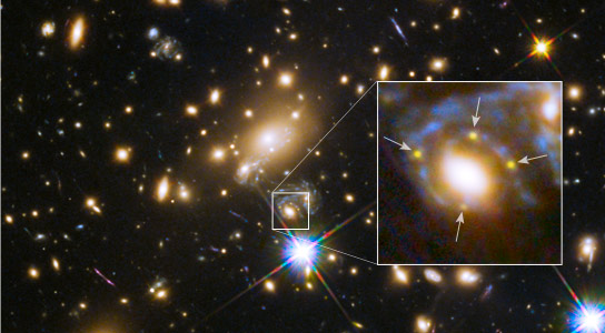 Hubble Sees Multiple Images of a Highly Magnified Supernova for the First Time