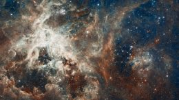 Hubble Space Telescope image of a raucous stellar breeding ground in 30 Doradus