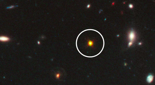 Hubble Space Telescope view of one of the most distant and luminous quasars
