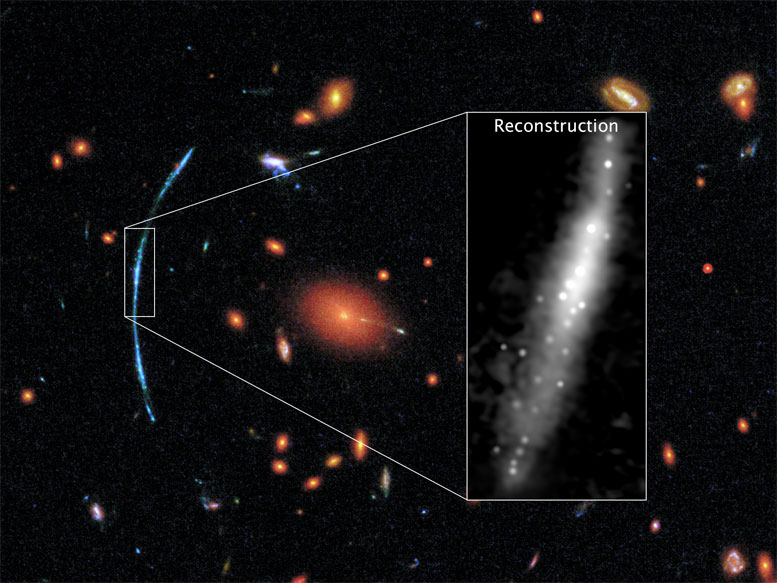 Hubble Spots Clumps of New Stars in Distant Galaxy