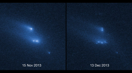 Hubble Views Asteroid P2013 R3 Mysteriously Disintegrating