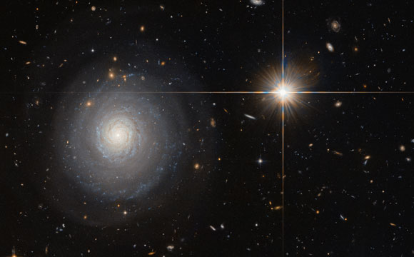 Hubble Views Starburst Galaxy Named MCG+07-33-027