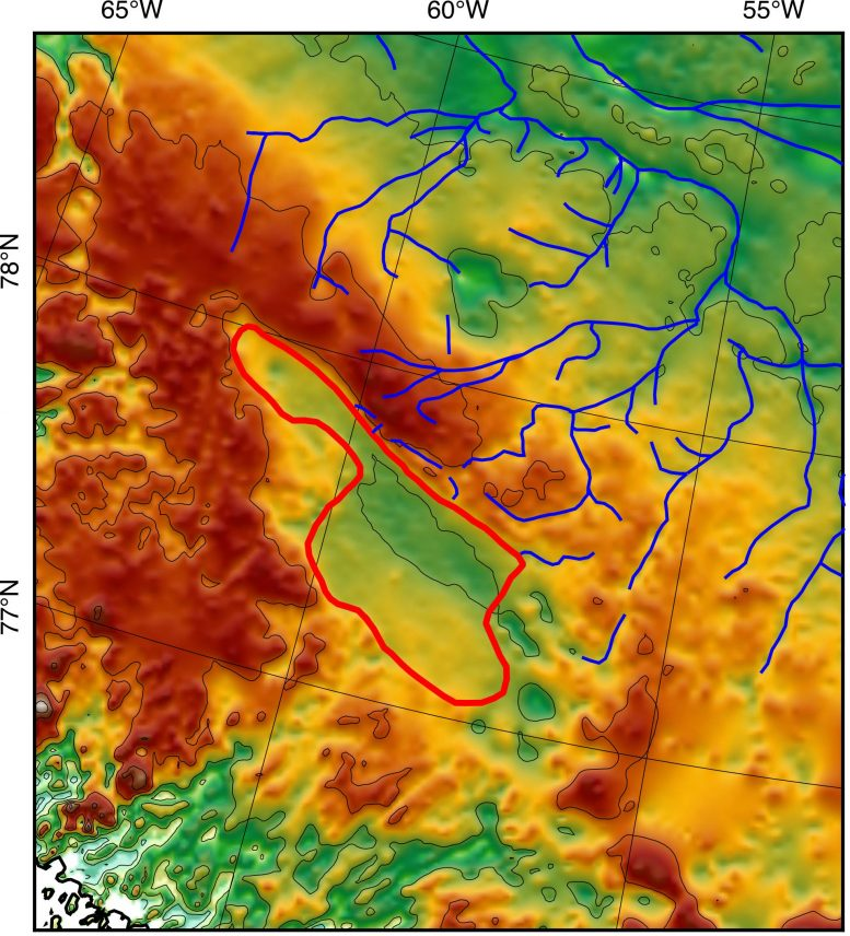 A huge ancient lake basin under the Greenland ice