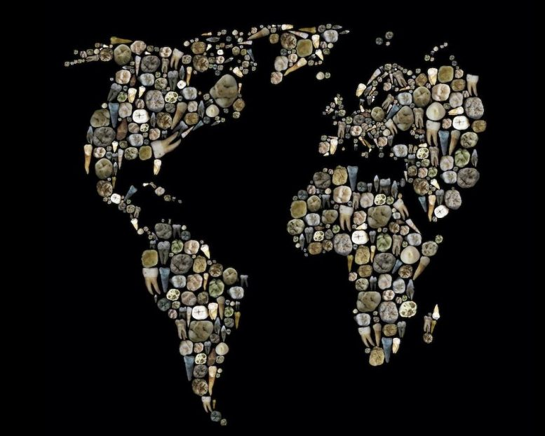 Human Teeth World Map Mosaic