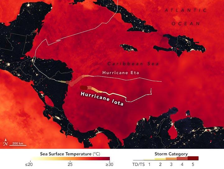 Hurricanes Iota and Eta Map Annotated