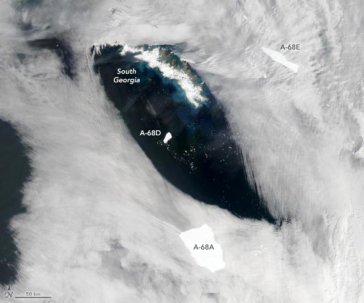 Iceberg A-68A Pieces Annotated