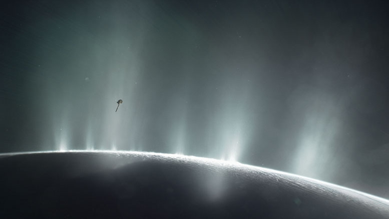 Illustration Shows Cassini Diving Through the Enceladus Plume