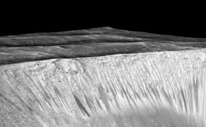 Image of Recurring Water Streaks on Walls of Garni Crater on Mars
