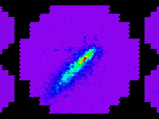 Image of particle cascades viewed simultaneously by the HESS II telescope and by the HESS I Telescopes