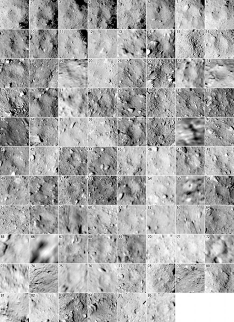 Images of Each Identified Crater on Ryugu