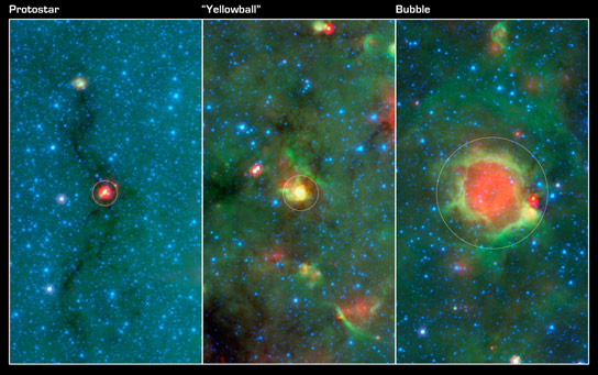 Images Show Phases of Massive Star Formation
