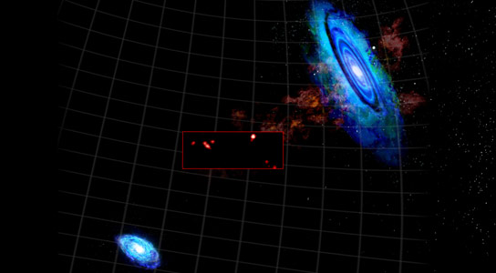 Intergalactic Clouds Lurking Between Nearby Galaxies Andromeda and Triangulum