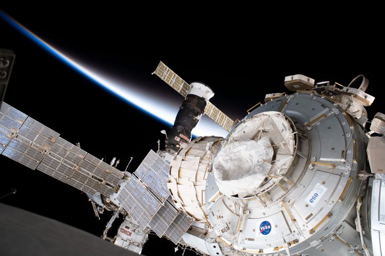 International Space Station Flying into an Orbital Sunset