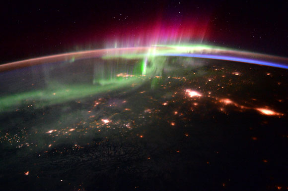 International Space Station Image of Aurora and the Pacific Northwest