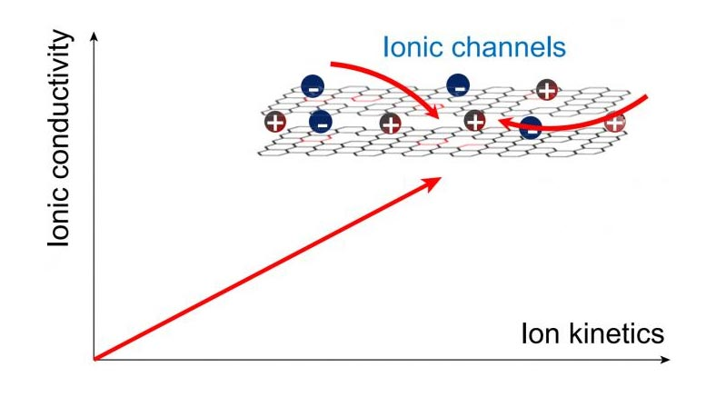 Ionic Channels in Carbon Electrodes