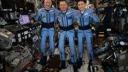 NASA Astronauts Jessica Meir and Andrew Morgan and Soyuz Commander Oleg Skripochka