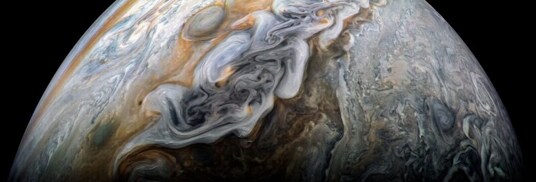 Juno Image of a Dark and Stormy Jupiter