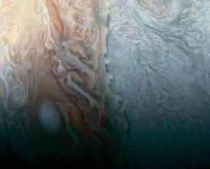 Juno Spacecraft Image of When Jovian Light and Dark Collide