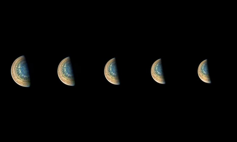 Juno Spacecraft Time-lapse Sequence of Jupiter's South Pole