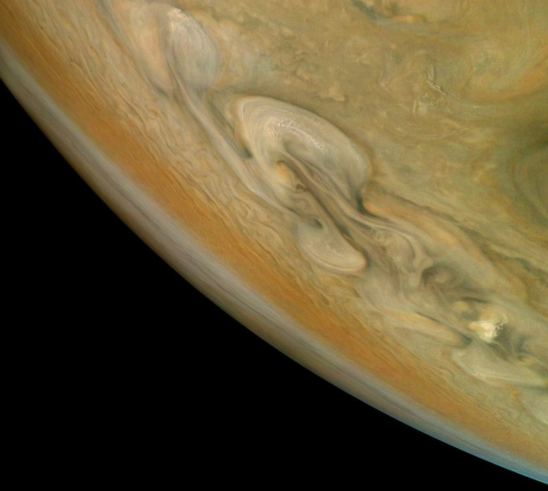 Juno Views Jupiter's Northern Polar Belt Region