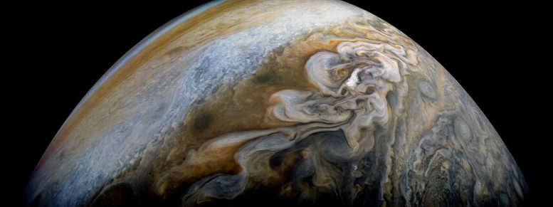 Juno Views Swirling Cloud Formations on Jupiter