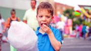 Kid Eating Cotton Candy