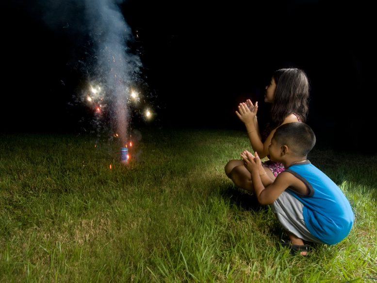 Kids Watching Fireworks