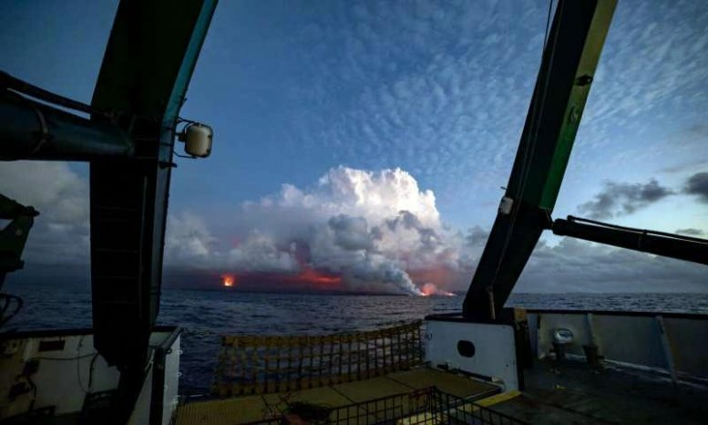 Kilauea Lava Entry Site from UH Research Vessel