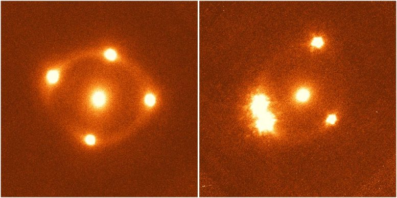 Light From Two Distant Galaxies Is Distorted Into Multiple Images