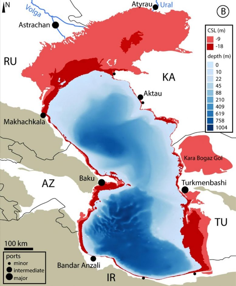 Locations of Caspian Sea Surface Change