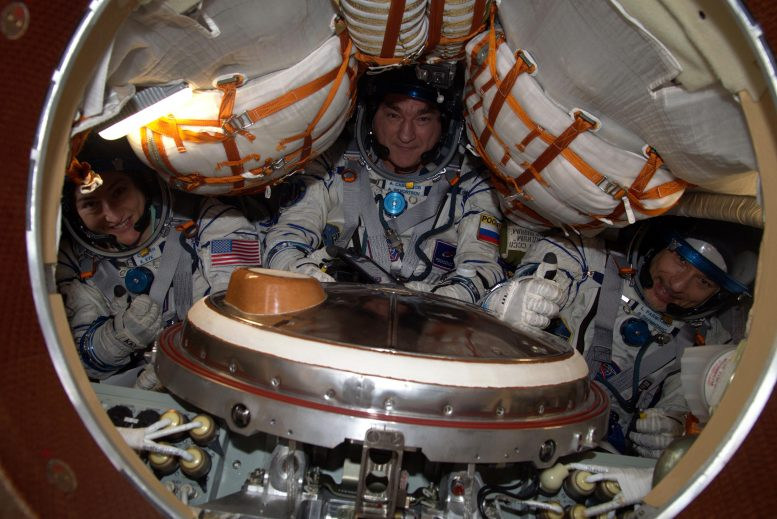 Luca, Christina and Alexander in Soyuz MS-13