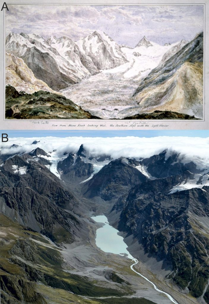 Lyell Glacier Comparison 1866 and 2018