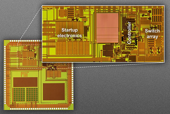 The MIT researchers' prototype for a chip measuring 3 millimeters by 3 millimeters. The magnified detail shows the chip's main control circuitry, including the startup electronics; the controller that determines whether to charge the battery, power a device, or both; and the array of switches that control current flow to an external inductor coil. This active area measures just 2.2 millimeters by 1.1 millimeters.