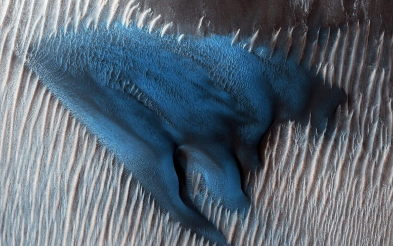 MRO Views Blue Sand Dune of Lyot Crater