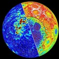 Magnetic field intensity (left) and topography (right) of the moon