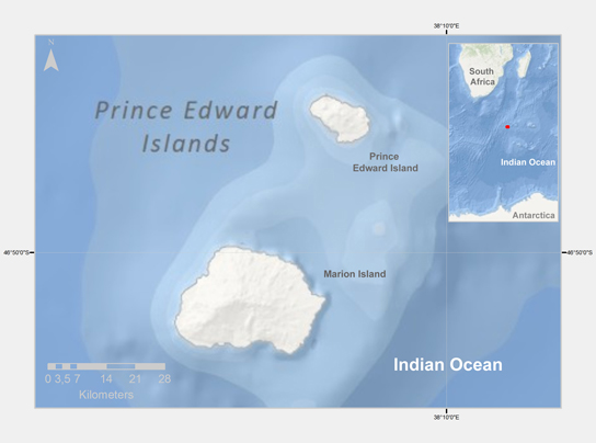 Map of Marion Island (Prince Edward Islands)