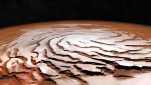 Mars Express Views the Red Planet's North Polar Ice Cap