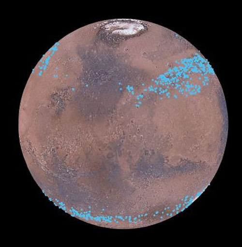 Mars Has Glacier Belts Consisting of Frozen Water