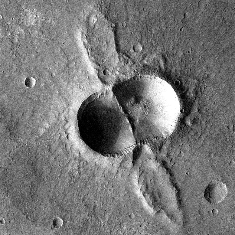 Mars Odyssey Double Crater